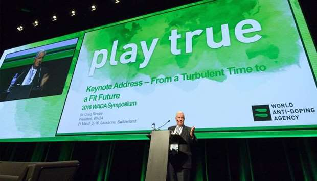 World Anti-Doping Agency (WADA) President, Craig Reedie, addresses the assembly