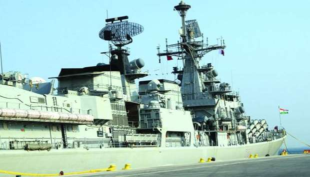 Indian Naval Ship INS Mumbai on its arrival in Hamad Port on Tuesday. The ship will return to Mumbai