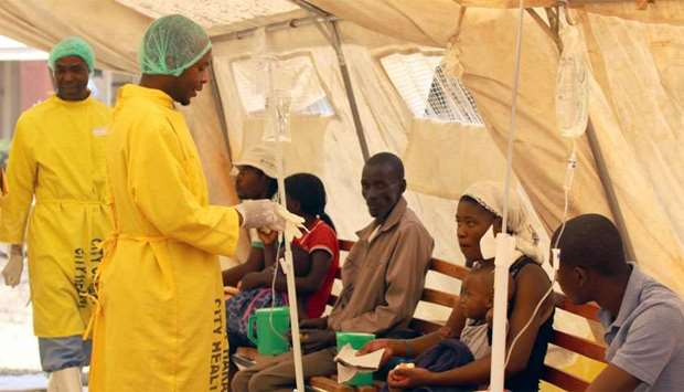 Patients are treated at a clinic dealing with cholera outbreak in Harare