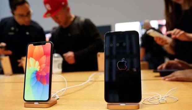 The new Apple iPhone Xs Max and iPhone X are seen on display at the Apple Store in Manhattan, New Yo