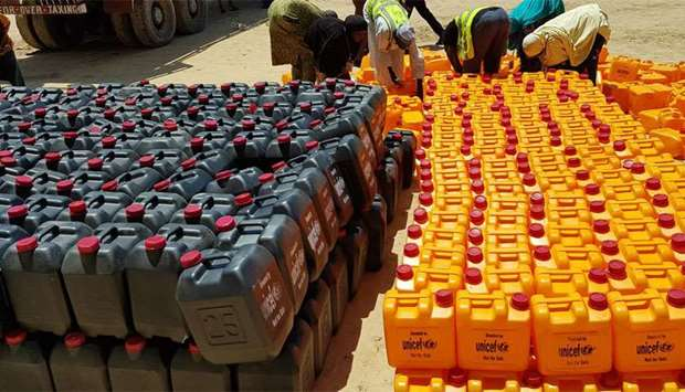 The jerry cans Unicef is providing to households in cholera affected areas in Borno to help safe han