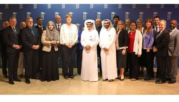 Canadian ambassador Stefanie McCollum with CNA-Q senior officials led by its president, professor Kh