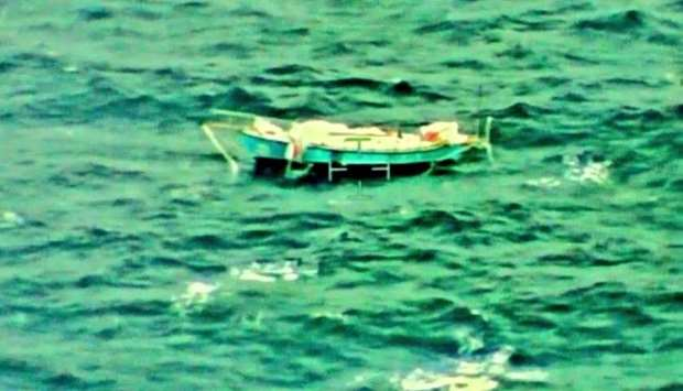 The yacht Thuriya of solo sailor Abhilash Tomy is pictured at sea