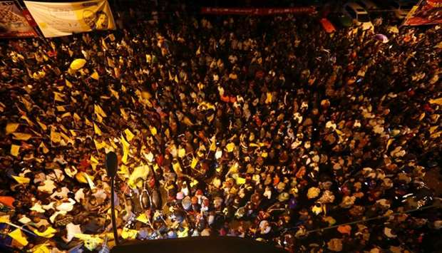 Supporters of Maldivian joint-opposition presidential candidate Ibrahim Mohamed Solih celebrate on a