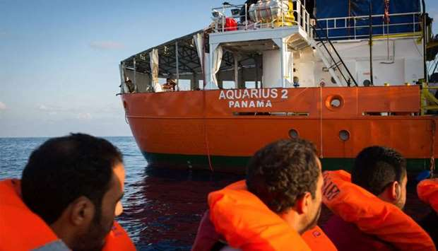 SOS Mediterranee shows migrants being rescued by the Aquarius rescue ship run by non-governmental or