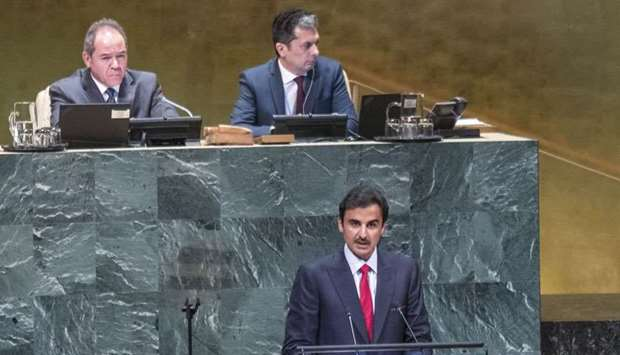 His Highness the Amir Sheikh Tamim bin Hamad al-Thani addressing the UN General Assembly in New York