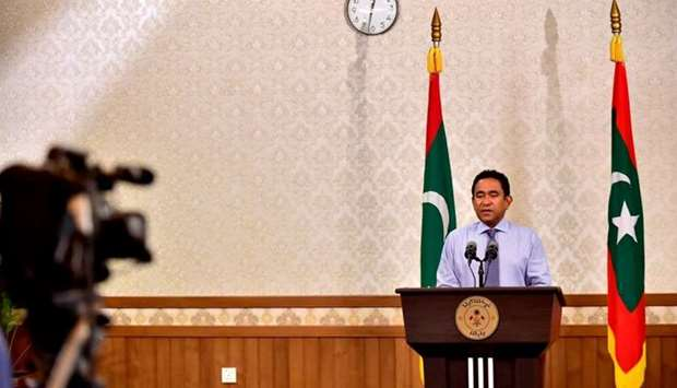 Maldivian President Abdulla Yameen speaks as he gives a statement after his defeat at President offi