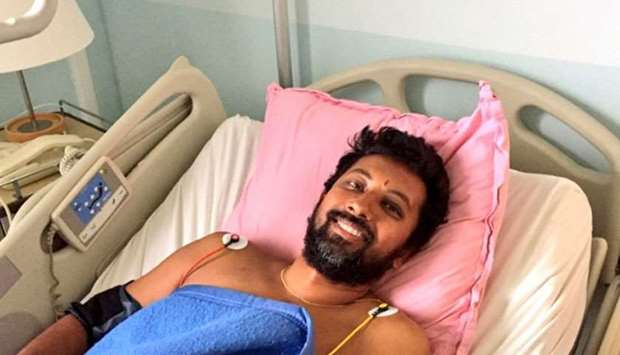 Abhilash Tomy recovering at a medical centre at I'lle Amsterdam