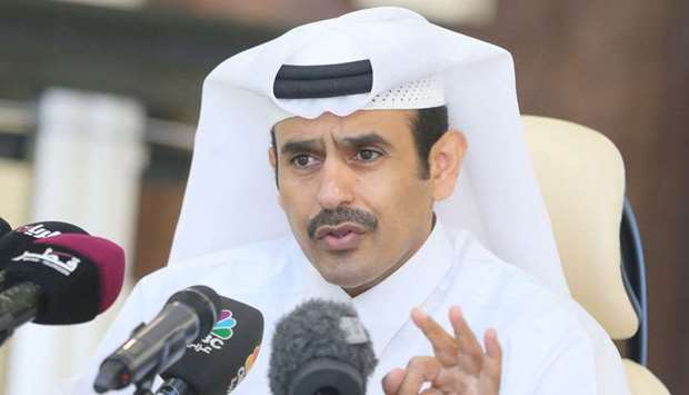 Saad Sherida al-Kaabi addressing a press conference at the Qatar Petroleum headquarters on Wednesday