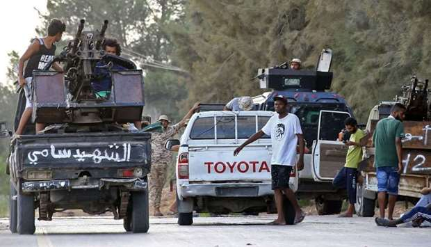 Libyan men loyal to the Government of National Accord (GNA), Libya's internationally recognised gove