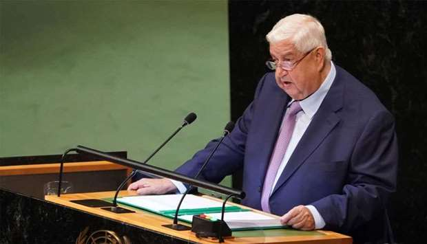 Syrian Foreign Minister Walid Al-Moualem addresses the 73rd session of the General Assembly at the U