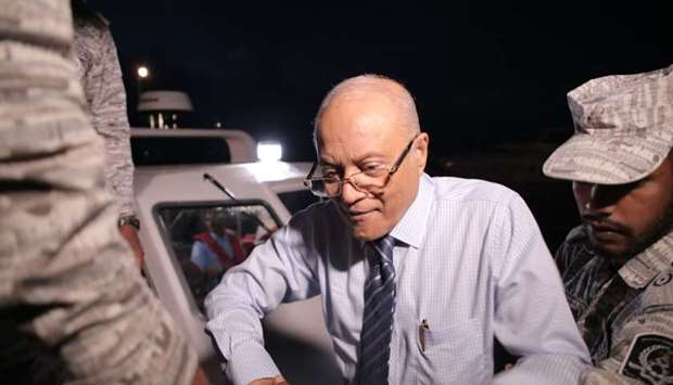 Former President Of Maldives Maumoon Abdul Gayoom (C) disembarks from a boat
