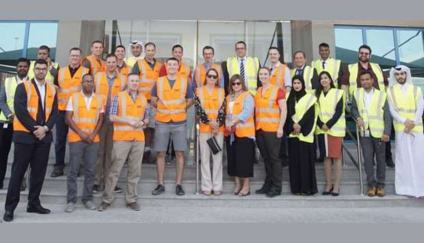 The delegation from the United States Embassy at the Logistics Village Qatar (LVQ) in Doha.