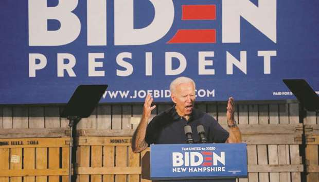 Democratic 2020 US presidential candidate Joe Biden speaks at a campaign rally in New Hampshire. Dem