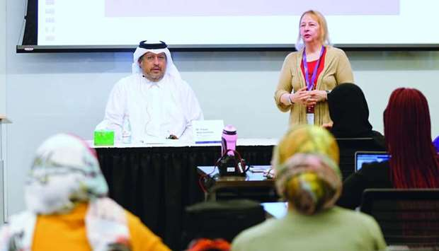 Gulf Times editor-in-chief Faisal Abdulhameed al-Mudahka speaking to journalism students at NU-Q Tue
