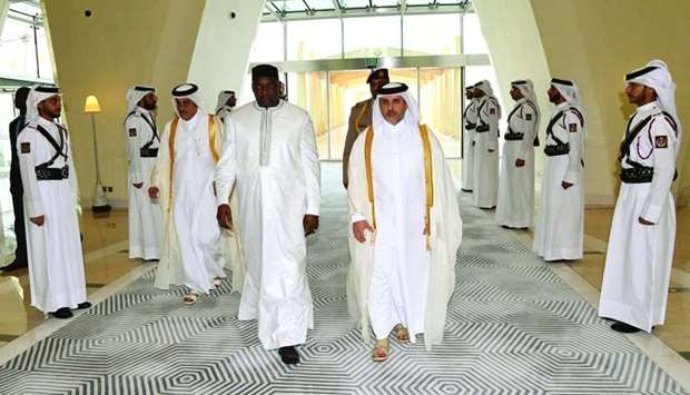Gambian President Adama Barrow being received upon arrival at Hamad International Airport by HE the
