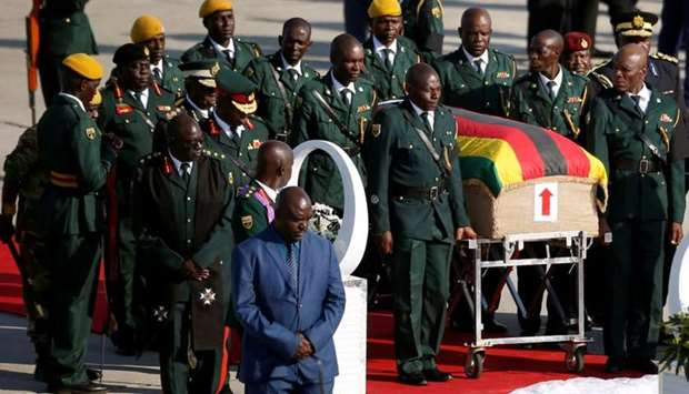The body of former Zimbabwean President Robert Mugabe arrives back in the country after he died on F