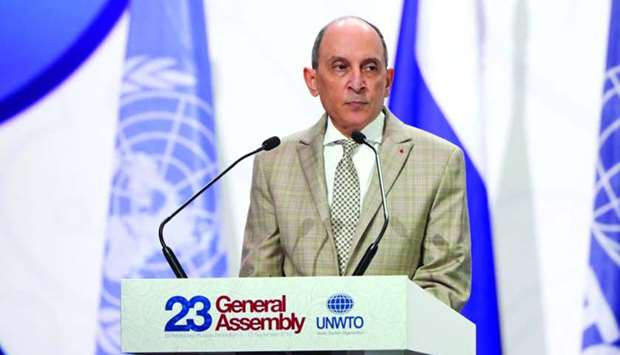 HE Akbar al-Baker speaking at the 23rd UNWTO General Assembly in St Petersburg.