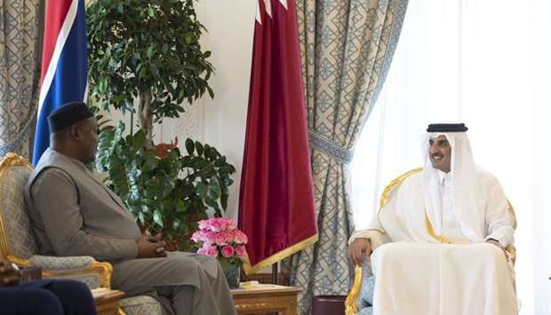 His Highness the Amir Sheikh Tamim bin Hamad al-Thani holding talks with Gambian President Adama Bar