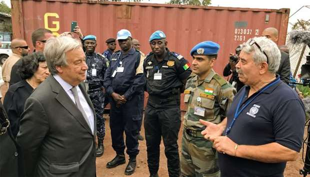 United Nations Secretary General Antonio Guterres is seen at the disarmament, demobilization, and re