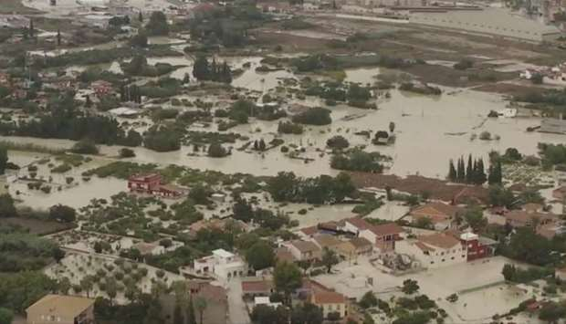 A still image taken from a drone footage shows a flooded area after heavy rainfall in Lorqui, Spain