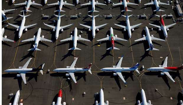 Grounded Boeing 737 MAX aircraft are seen parked in an aerial photo at Boeing Field in Seattle