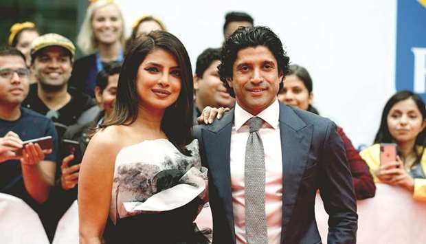 Bollywood stars Priyanka Chopra and Farhan Akhtar attend The Sky Is Pink premiere during the 2019 To