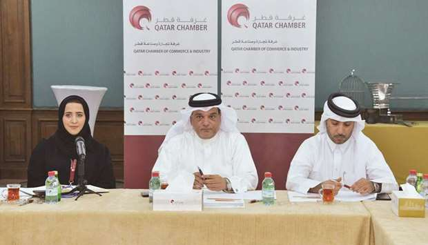 Qatar Chamber board member Mohamed al-Obaidli presides over the meeting.