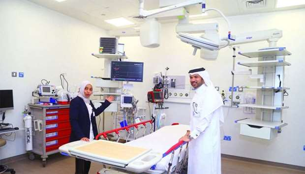 Dr Aftab Mohamed Azad and Enaam Saleh MA al-Naemi at one of the facilities of the new Trauma and Eme