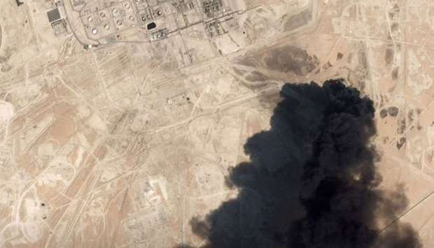 A satellite image shows an apparent drone strike on an Aramco oil facility in Abqaiq, Saudi Arabia o