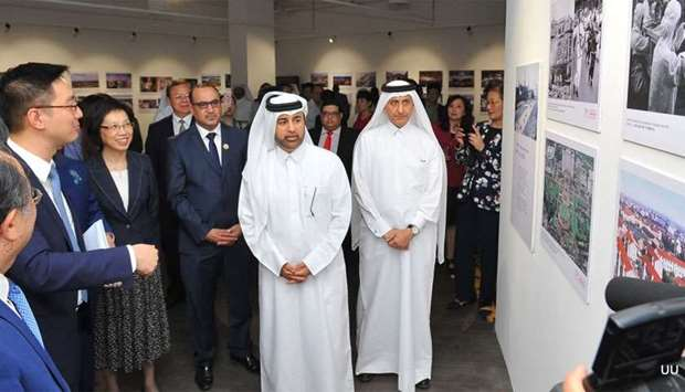 Dr Khalid bin Ibrahim al-Sulaiti inaugurates the photo exhibition at Katara. PICTURE: Nasar TK