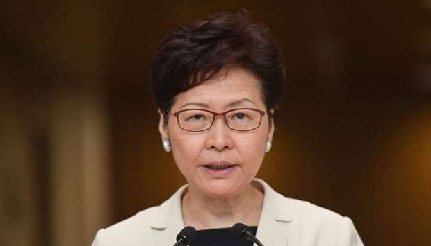 Hong Kong Chief Executive Carrie Lam speaks during a press conference in Hong Kong