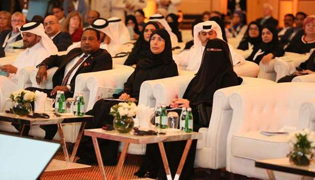 HE the Minister of Public Health Dr Hanan Mohamed al-Kuwari along with other dignitaries at the open