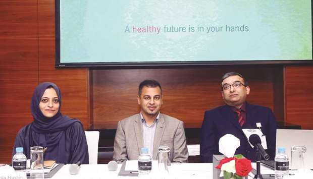 Future Health LLC officials making the announcement in Doha.