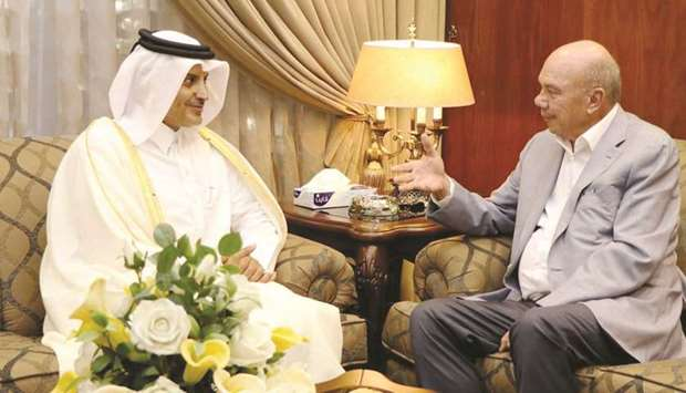 Ambassador of the State of Qatar to Jordan Sheikh Saud bin Nasser al-Thani is seen during the meetin
