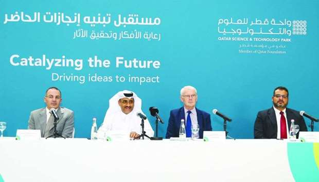 QSTP executive director Yosouf Saleh (2nd from left) responds to a question during a press conferenc