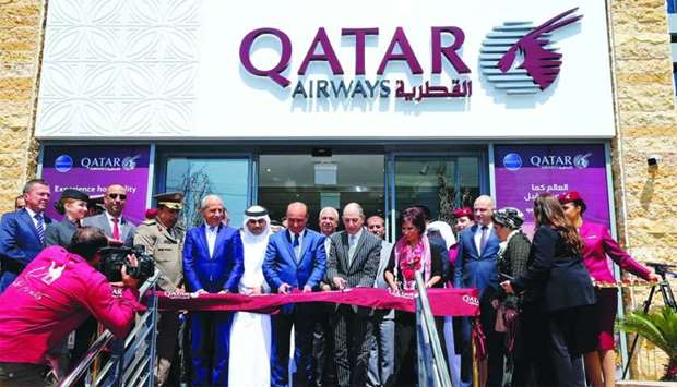 Khasawneh and HE al-Baker among other dignitaries during the inauguration of Qatar Airways' new offi