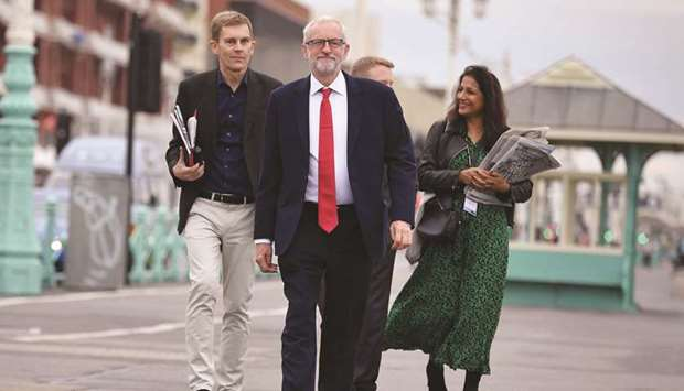 Labour leader Jeremy Corbyn arrives for an interview with the BBC during the Labour party conference
