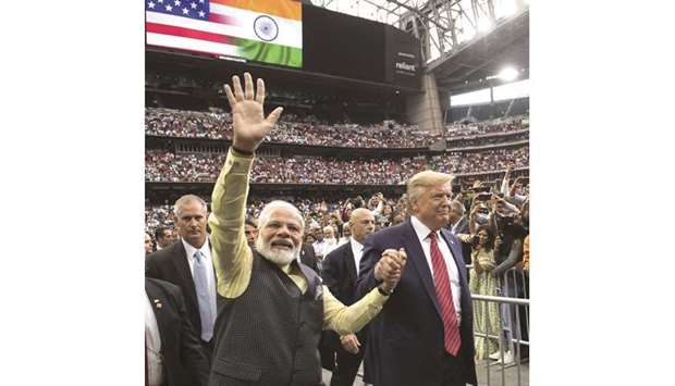 "US President Donald Trump and Prime Minister Narendra Modi attend ""Howdy, Modi!"" at NRG Stadium in H"
