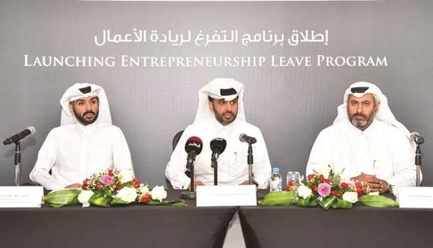 Qatar Development Bank (QDB) officials during a press conference yesterday.