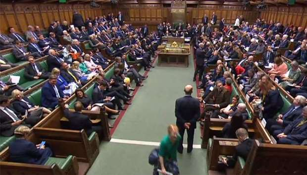 A video grab from footage broadcast by the UK Parliament's Parliamentary Recording Unit (PRU) shows