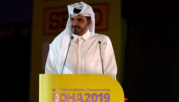 Sheikh Joaan bin Hamad al-Thani speaks during the opening ceremony