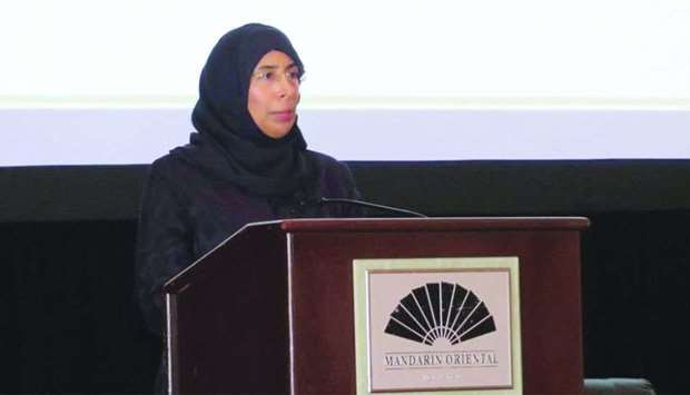 HE the Minister of Public Health Dr Hanan Mohamed al-Kuwari speaking at the AAHC annual meeting in M