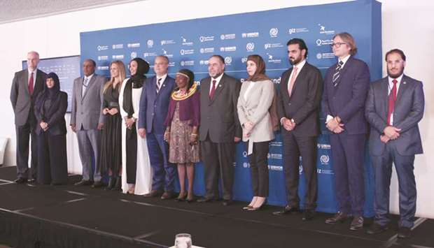 Dignitaries at the Qatar Charity event at UN headquarters in New York.