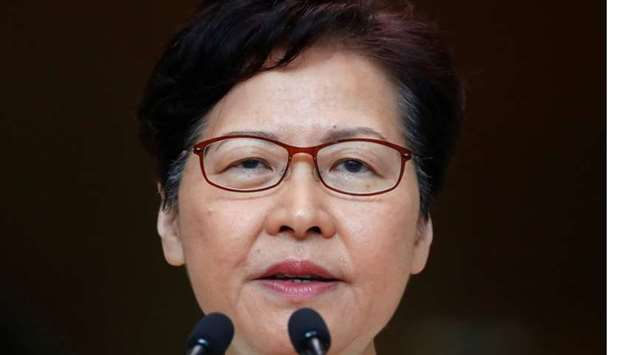 Hong Kong's Chief Executive Carrie Lam holds a news conference in Hong Kong, China