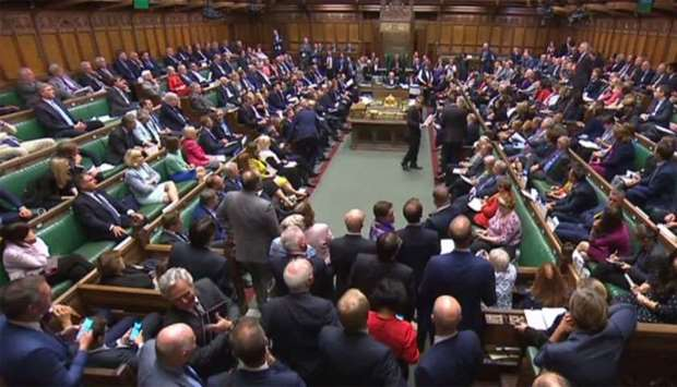 A video grab from footage broadcast by the UK Parliament's Parliamentary Recording Unit (PRU)