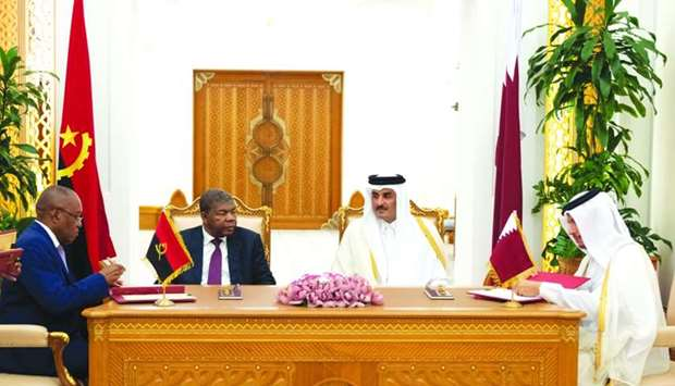 His Highness the Amir Sheikh Tamim bin Hamad al-Thani and Angolan President Joao Manuel Lourenco wit