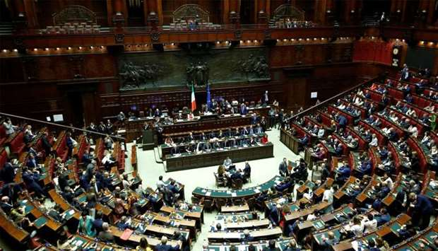General view of the hall prior to Italian Prime Minister Giuseppe Conte's presentation of his govern