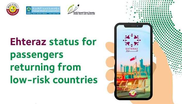 Ehteraz status for passengers returning from low-risk countries