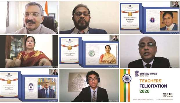 Indian school teachers felicitated by the embassy in an online ceremony